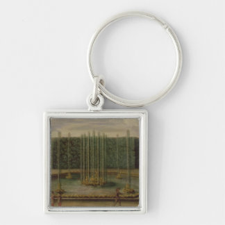 The Fountain of Bacchus at Versailles Silver-Colored Square Key Ring