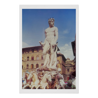 The Fountain of Neptune, detail of the figure of N Poster