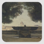 The Fountain of the French Academy in Rome Square Sticker