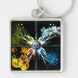 The Four Elements Silver-Colored Square Key Ring