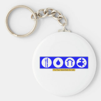 The Four Essentials for Life Basic Round Button Key Ring