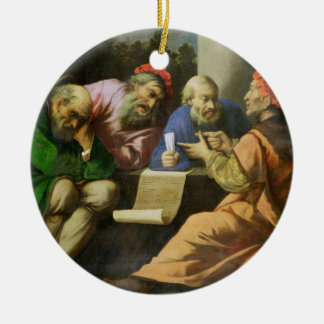 The Four Fathers of the Church (oil on canvas laid Round Ceramic Decoration