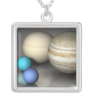 The Four Largest Planets Silver Plated Necklace
