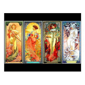 The Four Seasons 3rd series vintage Mucha postcard