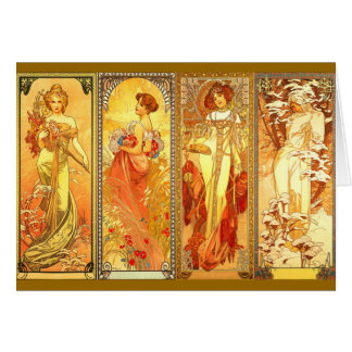 The Four Seasons - Alfons Mucha Card
