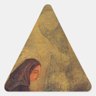 The Four Seasons, Winter by Paul Cezanne Triangle Sticker