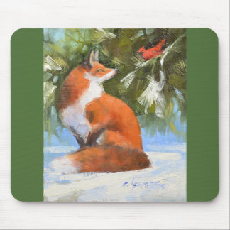 The Fox and the Cardinal Mouse Mat