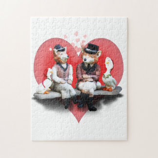 The Foxy Couple (With Heart Background) Puzzles