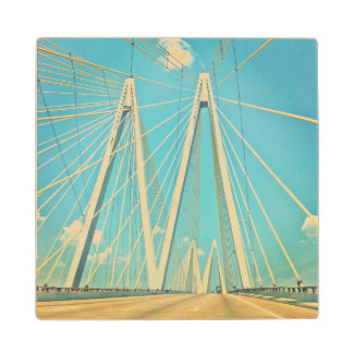 The Fred Hartman Bridge Maple Wood Coaster