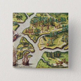 The French Arrive at Port Royal 15 Cm Square Badge