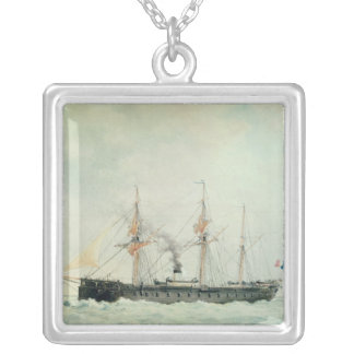 The French Battleship, 'La Gloire', 1880 Silver Plated Necklace