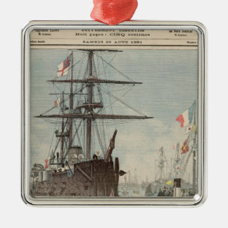The French Flotilla in Portsmouth Silver-Colored Square Decoration
