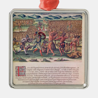 The French Help the Indians in Battle Silver-Colored Square Decoration