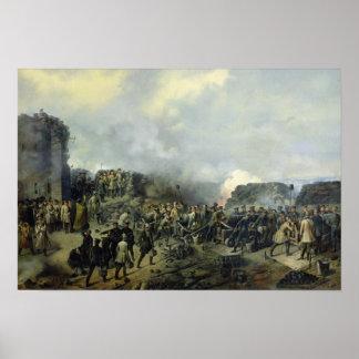 The French-Russian battle at Malakhov Kurgan Poster