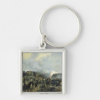 The French-Russian battle at Malakhov Kurgan Silver-Colored Square Key Ring