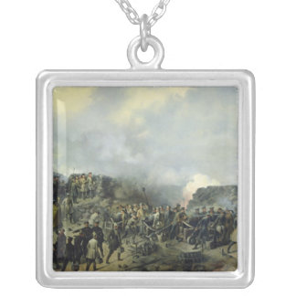 The French-Russian battle at Malakhov Kurgan Square Pendant Necklace