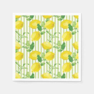The Fresh Striped Lemon Vector Seamless Pattern Disposable Serviettes