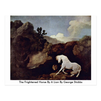 The Frightened Horse By A Lion By George Stubbs Post Cards