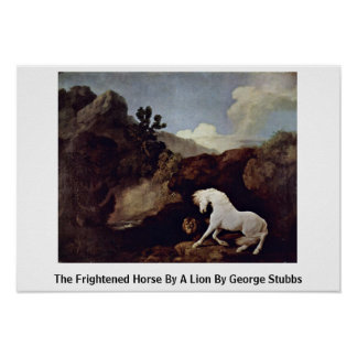 The Frightened Horse By A Lion By George Stubbs Poster