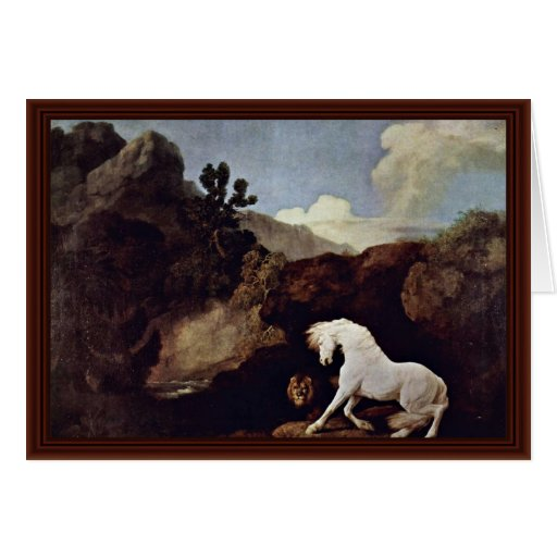 The Frightened Horse By A Lion By Stubbs, George Greeting Card
