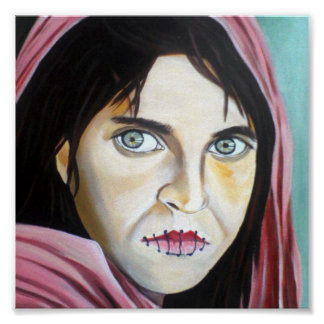 The frightened woman Print