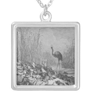 The frogs asking for a king, silver plated necklace