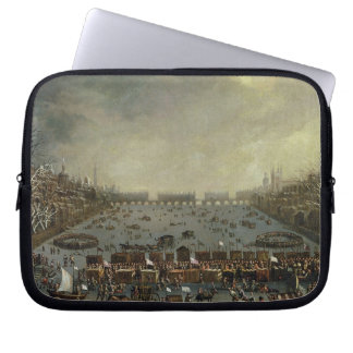 The Frost Fair of the winter of 1683-4 on the Tham Laptop Sleeve