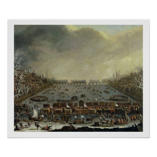 The Frost Fair of the winter of 1683-4 on the Tham Poster