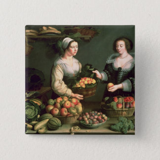 The Fruit and Vegetable Seller 15 Cm Square Badge