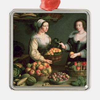 The Fruit and Vegetable Seller Silver-Colored Square Decoration