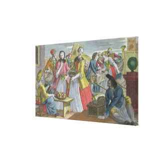 The Fruit Market (coloured engraving) Canvas Print