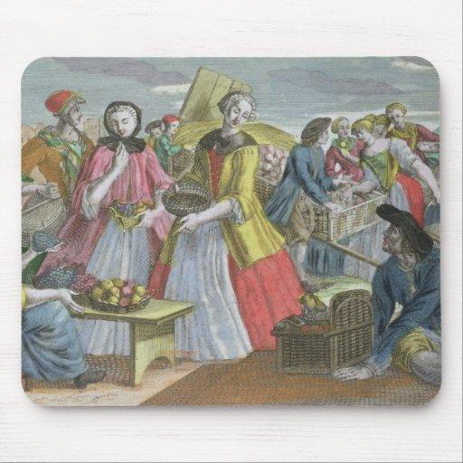 The Fruit Market (coloured engraving) Mousepad