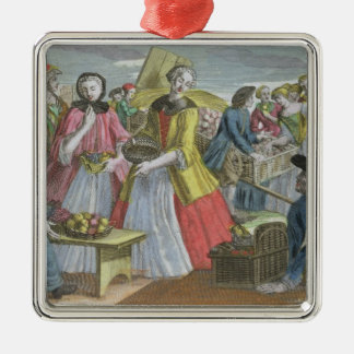 The Fruit Market (coloured engraving) Silver-Colored Square Decoration