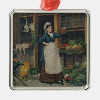 The Fruit Seller Silver-Colored Square Decoration
