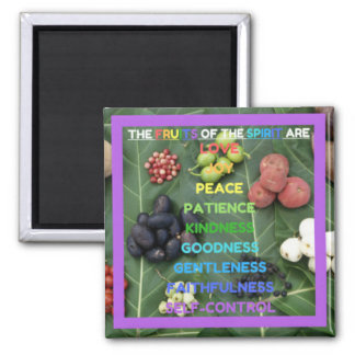 The Fruits of the Spirit (Design 10 - Purple) Square Magnet