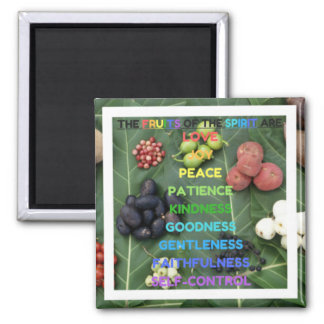 The Fruits of the Spirit (Design 2 - White) Square Magnet