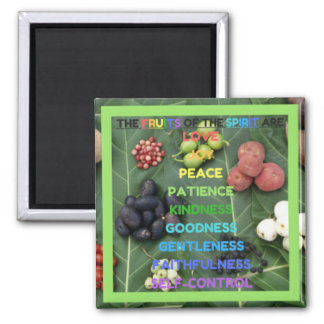 The Fruits of the Spirit (Design 5 - Light Green) Square Magnet