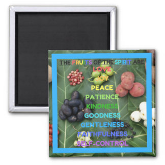 The Fruits of the Spirit (Design 8 - Blue) Square Magnet
