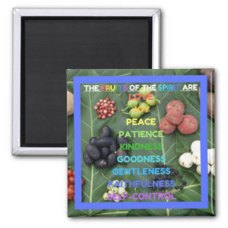 The Fruits of the Spirit (Design 9 - Royal Blue) Square Magnet