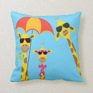 The Fun Giraffe Family Throw Pillow