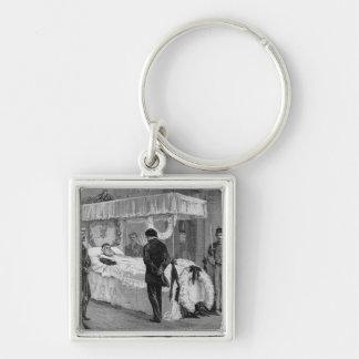 The Funeral of Garibaldi at Caprera Silver-Colored Square Key Ring