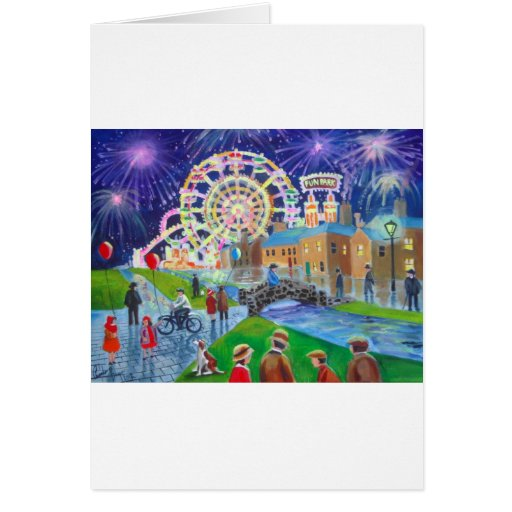 the FunFair oil painting Gordon Bruce art Greeting Card