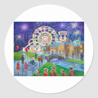 the FunFair oil painting Gordon Bruce art Classic Round Sticker