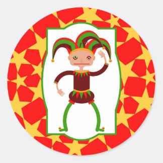 The funny clown round sticker