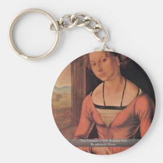 The Fürlegerin With Braided Hair By Albrecht Dürer Basic Round Button Key Ring