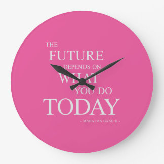 The Future Inspiring Motivational Quote Clock Pink