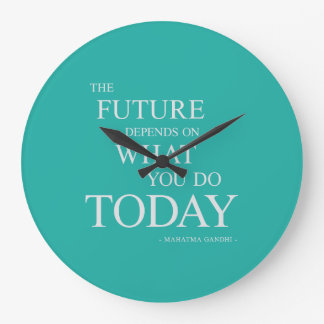 The Future Inspiring Motivational Quote Clock Teal