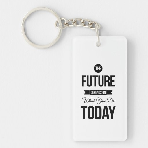 The Future Inspiring Quote White Acrylic Keychain