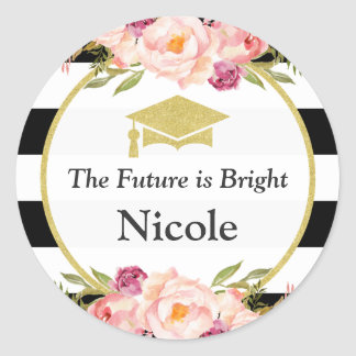 The Future is Bright | Floral Glam Graduate Favor Round Sticker