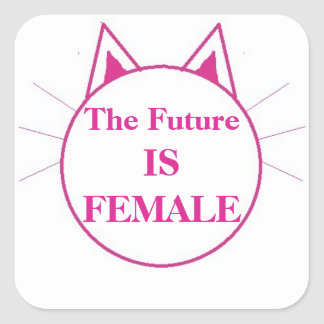 The future is female square sticker